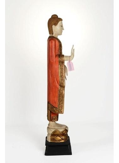 Catit Ahşap El Yapımı Huzuru Her Yerde Bulabileceğinizi Simgeleyen Duruşu Buda Heykeli Biblo 140 Cm Renkli